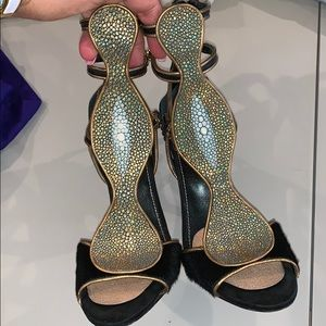 Sergio Rossi sting rays  black sandals size 38